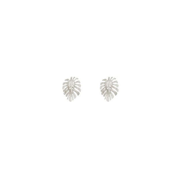 Silver Monstera Studs
