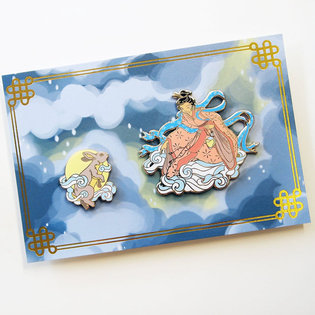 Moon Goddess and Rabbit Pin Set - Oh Plesiosaur