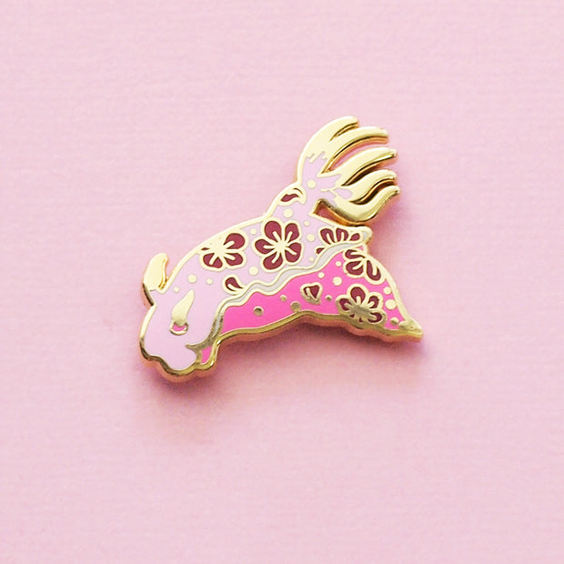 Pink Nudibranch Pin - Oh Plesiosaur