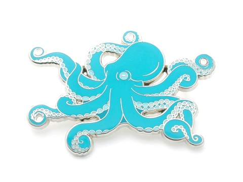 Blue Octopus Enamel Pin