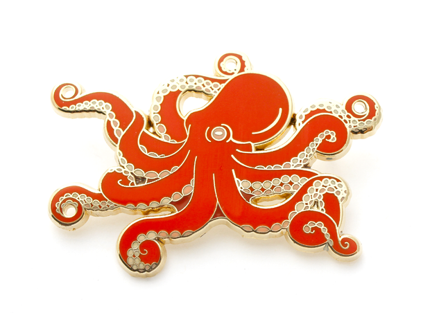 Red Octopus Pin - Oh Plesiosaur