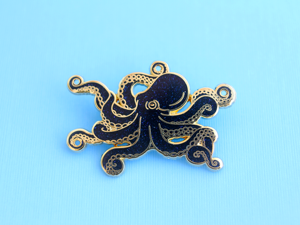 Seconds Sale - Glitter Octopus Pin - Oh Plesiosaur
