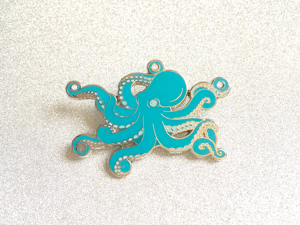 Seconds Sale - Blue Octopus Pin - Oh Plesiosaur