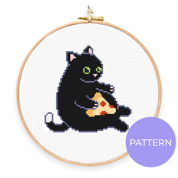 Pizza Cat Cross Stitch Pattern - Oh Plesiosaur