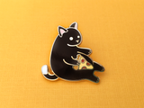 Seconds Sale - Black Pizza Cat Pin - Oh Plesiosaur