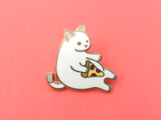 Seconds Sale - White Pizza Cat Pin - Oh Plesiosaur