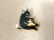 Black Pizza Cat Pin - Oh Plesiosaur