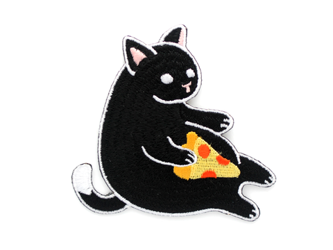 Black Pizza Cat Patch