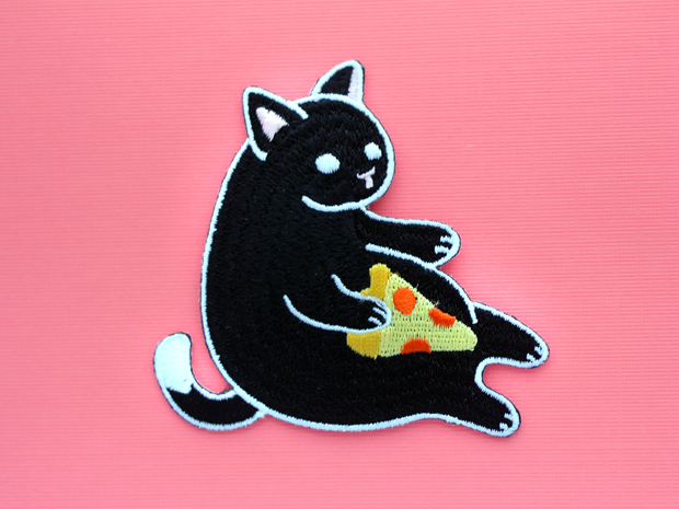 Black Pizza Cat Patch - Oh Plesiosaur