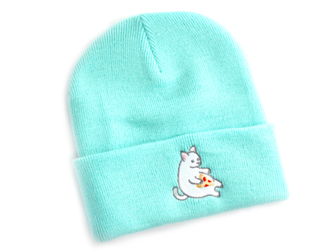 Mint Pizza Cat Beanie