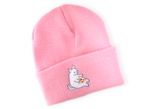 Pink Pizza Cat Beanie