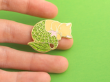 Seconds Sale - Green Glitter Purrmaid Pin - Oh Plesiosaur