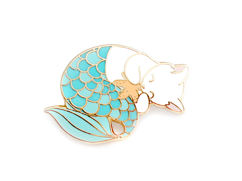 Blue Purrmaid Pin