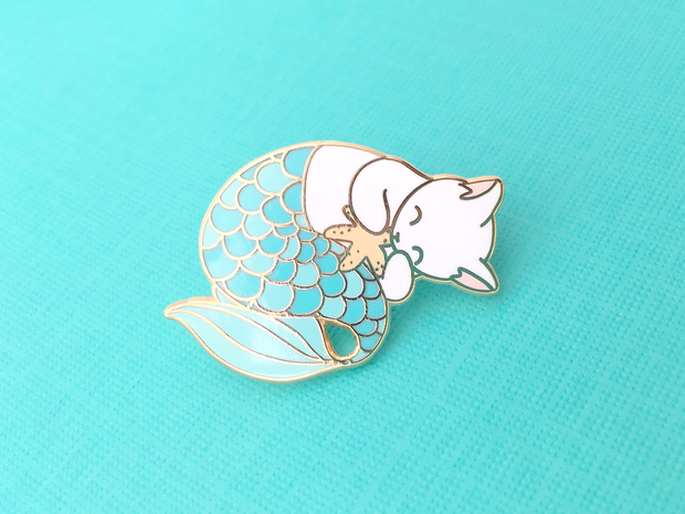 Seconds Sale - Blue Purrmaid Pin - Oh Plesiosaur
