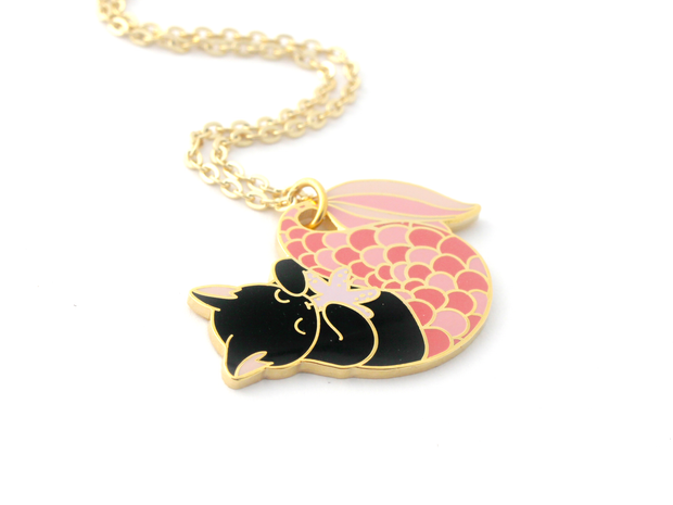Pink Purrmaid Necklace - Oh Plesiosaur