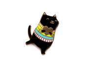 Black Rainbow Cat Pin - Oh Plesiosaur