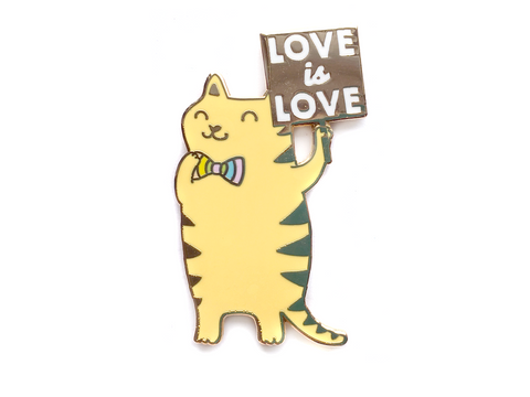 Rainbow Cat With Sign Enamel Pin