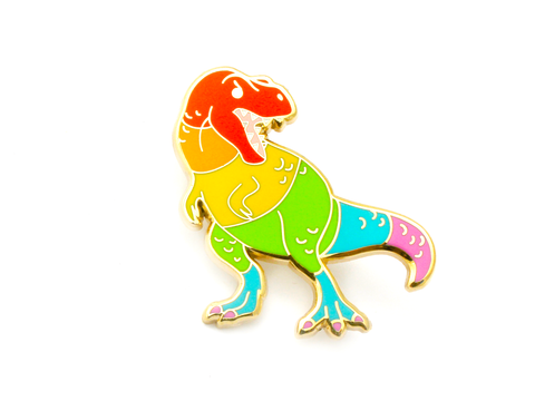 Rainbow T. Rex Pin