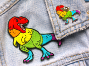 Rainbow T. Rex Patch - Oh Plesiosaur