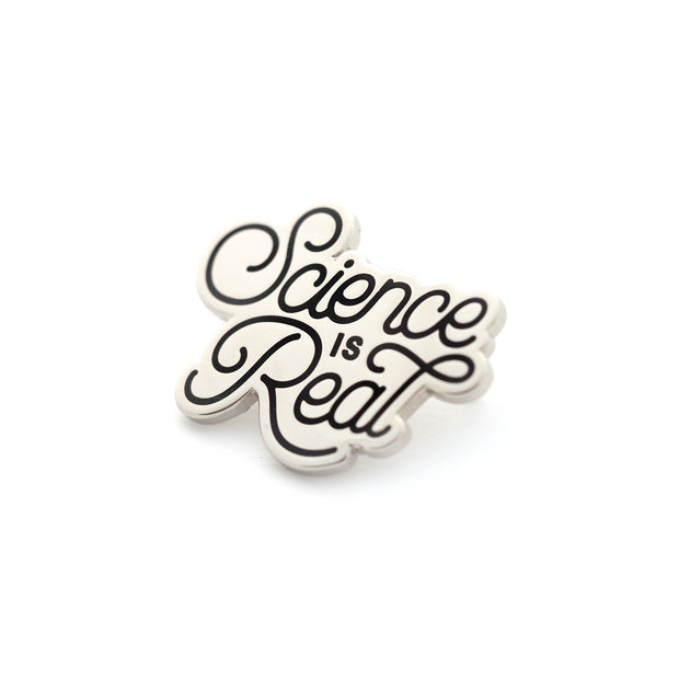 """Science is Real"" Pin - Silver - Oh Plesiosaur"