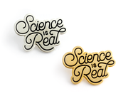 """Science is Real"" Pin - Gold - Oh Plesiosaur"