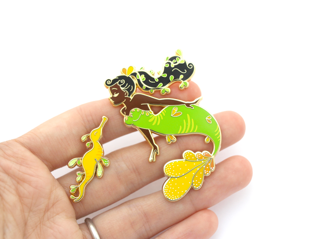 Seconds Sale - Sea Dragon Mermaid Pin Set - Oh Plesiosaur