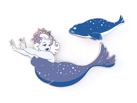 Seal Mermaid Pin Set - Blue