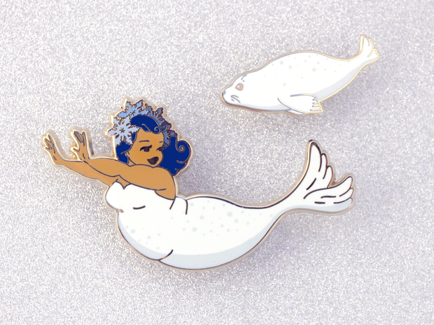 Seconds Sale - Seal Mermaid Pin Set - Oh Plesiosaur