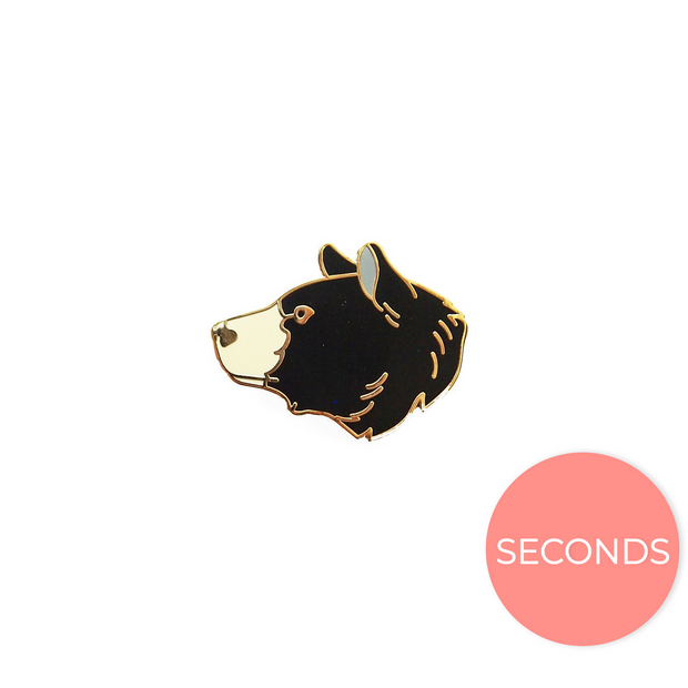 Seconds Sale - Black Bear Head Pin - Oh Plesiosaur