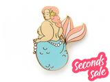Seconds Sale - Blue Body Positive Mermaid Pin - Oh Plesiosaur