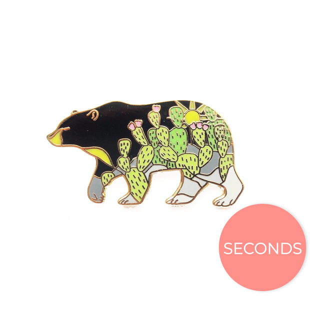 Seconds Sale - Cactus Black Bear Pin - Oh Plesiosaur