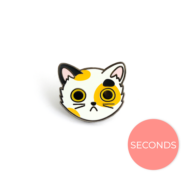 Seconds Sale - Calico Cat Face Pin - Oh Plesiosaur