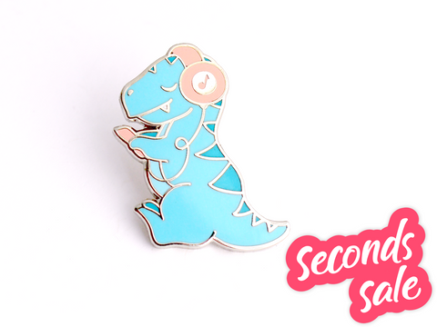Seconds Sale - Dino Beats Pin - Oh Plesiosaur