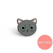 Seconds Sale - Gray Cat Face Pin - Oh Plesiosaur