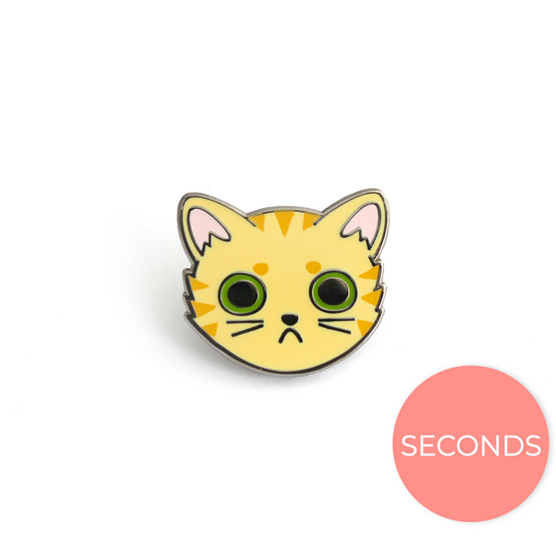 Seconds Sale - Orange Tabby Cat Face Pin - Oh Plesiosaur