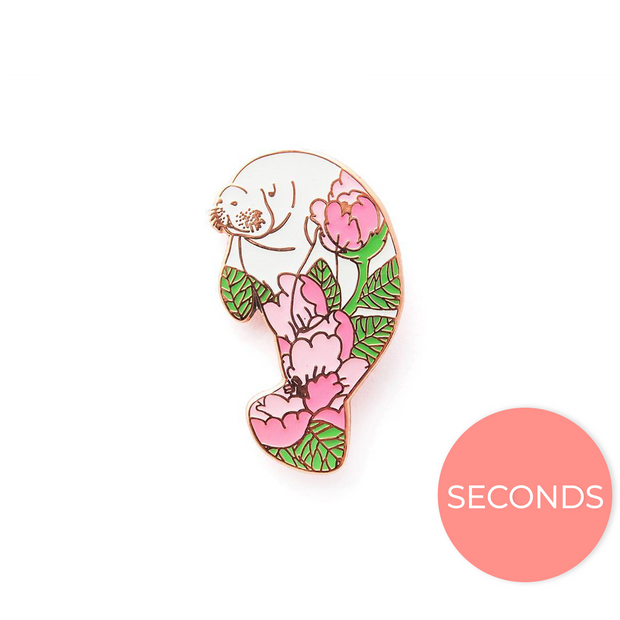 Seconds Sale - Peony Manatee Pin - Oh Plesiosaur