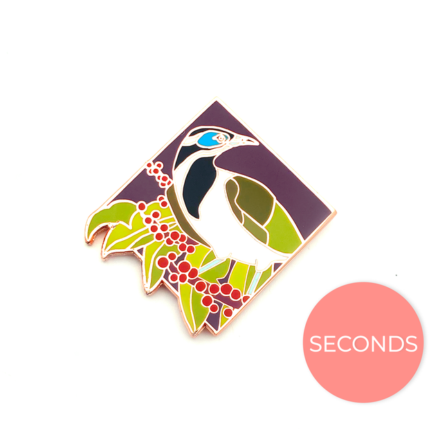 Seconds Sale - Blue-Faced Honeyeater Pin - Oh Plesiosaur