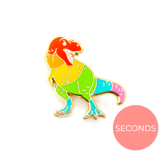 Seconds Sale - Rainbow T. Rex Pin - Oh Plesiosaur