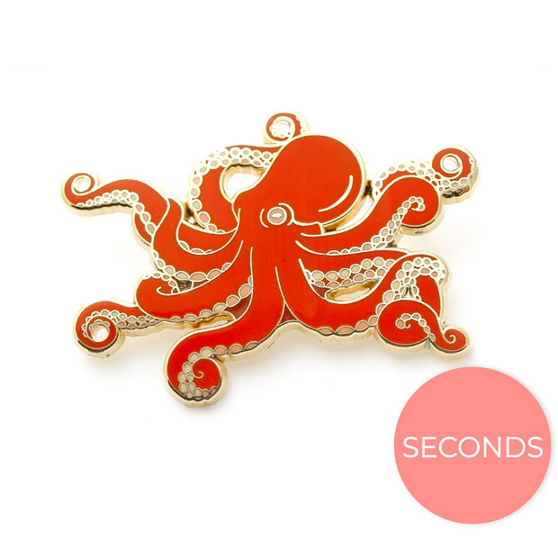 Seconds Sale - Red Octopus Pin - Oh Plesiosaur