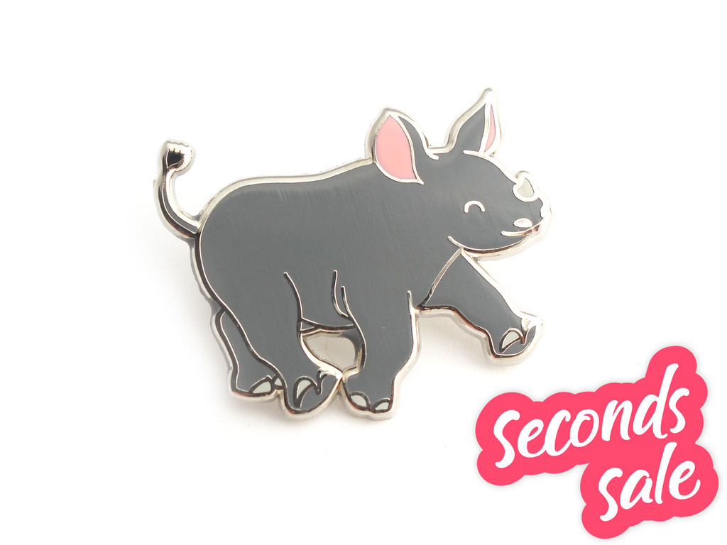 Seconds Sale - Black Rhino Pin - Oh Plesiosaur