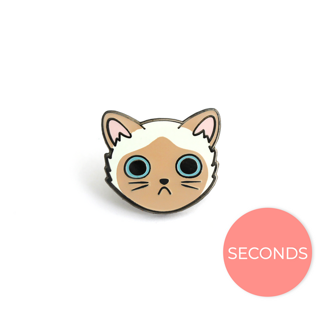 Seconds Sale - Siamese Cat Face Pin - Oh Plesiosaur