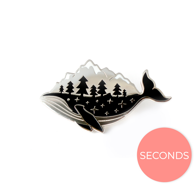 Seconds Sale - Silver Whale-derness Pin - Oh Plesiosaur