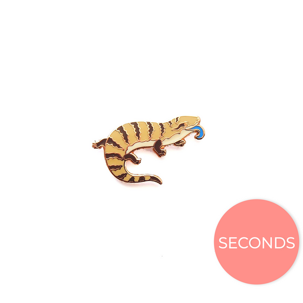Seconds Sale - Tiny Blue-tongued Skink Pin - Oh Plesiosaur