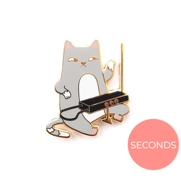Seconds Sale - Theremin Cat Pin - Oh Plesiosaur
