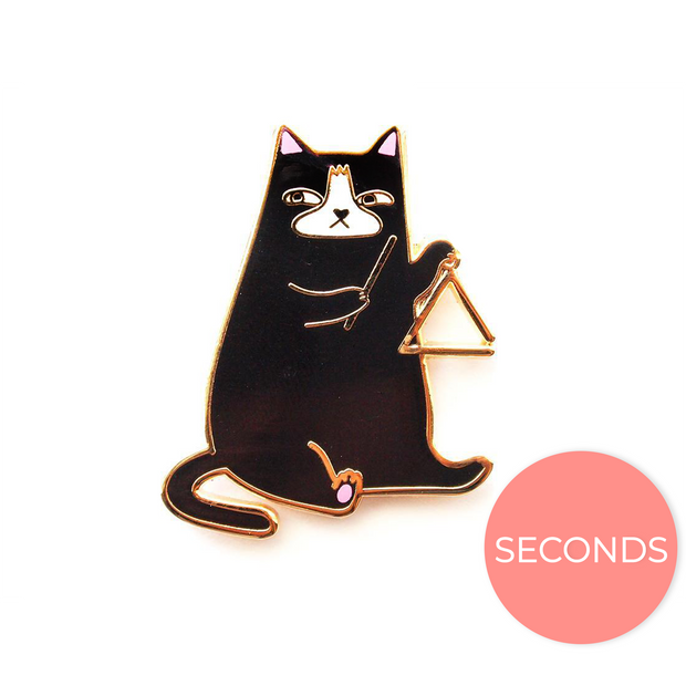 Seconds Sale - Triangle Cat Pin - Oh Plesiosaur