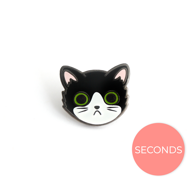 Seconds Sale - Tuxedo Cat Face Pin - Oh Plesiosaur