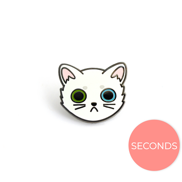 Seconds Sale - White Cat Face Pin - Oh Plesiosaur