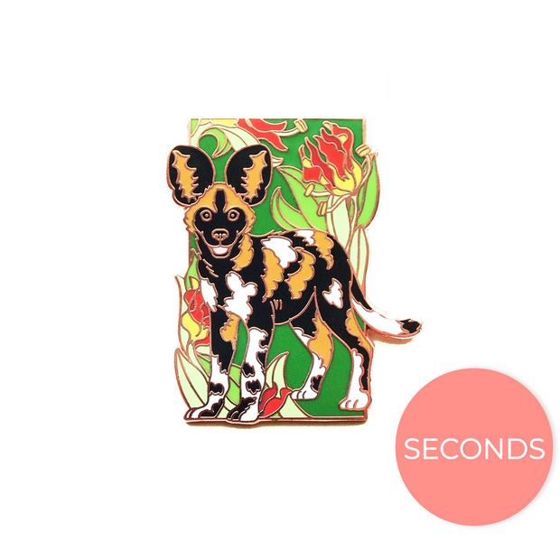 Seconds Sale - African Wild Dog Pin - Oh Plesiosaur