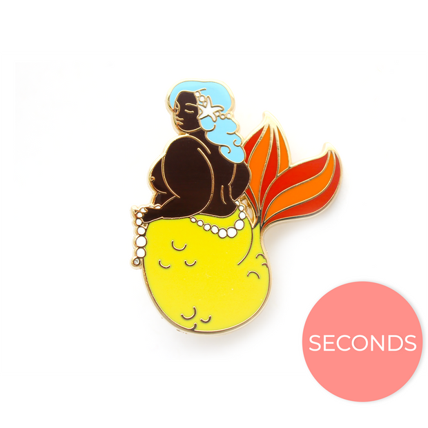 Seconds Sale - Yellow Body Positive Mermaid Pin - Oh Plesiosaur