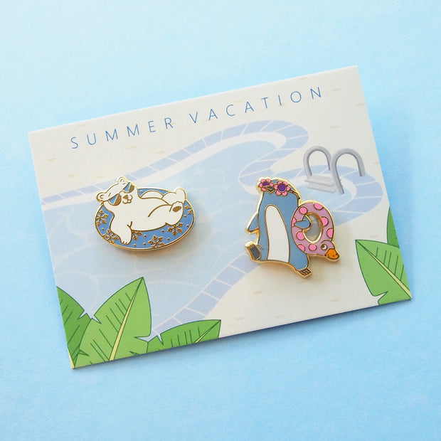 Polar Bear and Little Blue Penguin Pin Set - Oh Plesiosaur